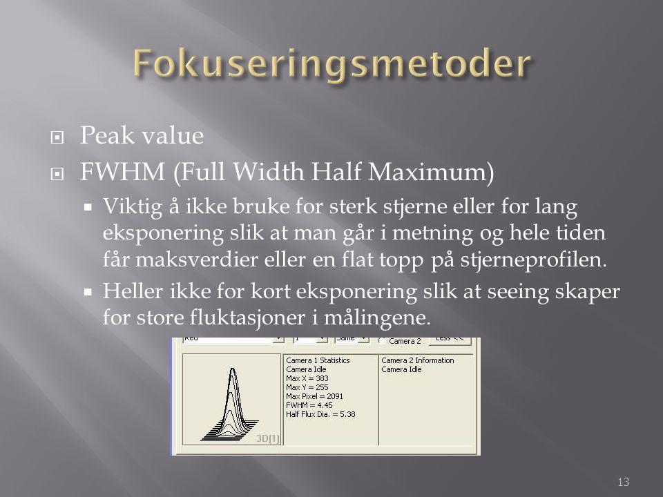 Fokuseringsmetoder Peak value FWHM (Full Width Half Maximum)