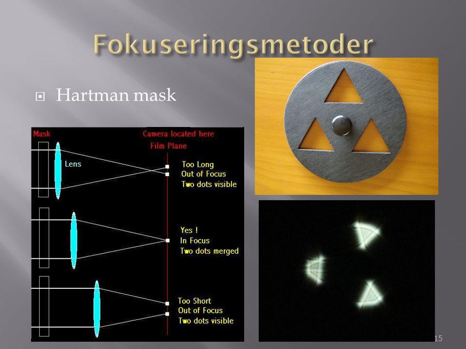 Fokuseringsmetoder Hartman mask