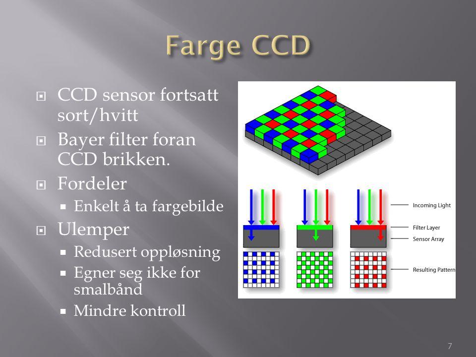 Farge CCD CCD sensor fortsatt sort/hvitt