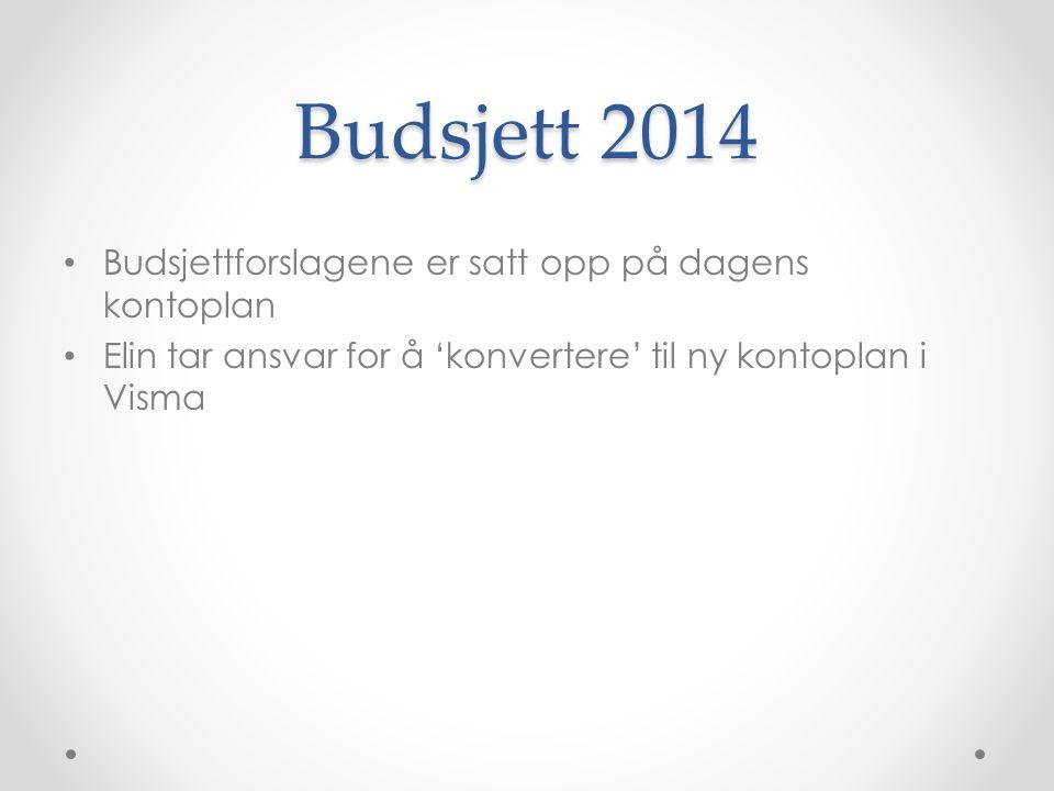 Budsjett 2014 Budsjettforslagene er satt opp på dagens kontoplan
