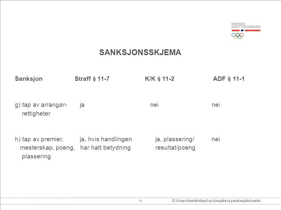 SANKSJONSSKJEMA Sanksjon Straff § 11-7 K/K § 11-2 ADF § 11-1