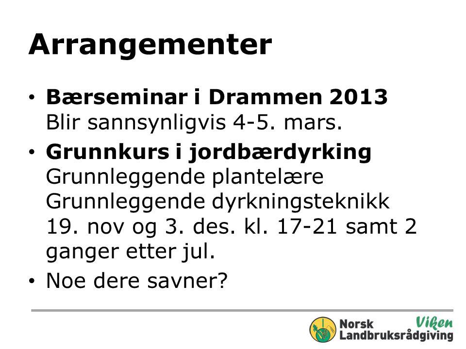 Arrangementer Bærseminar i Drammen 2013 Blir sannsynligvis 4-5. mars.