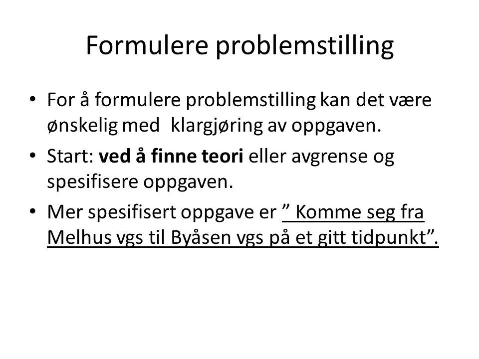 Formulere problemstilling
