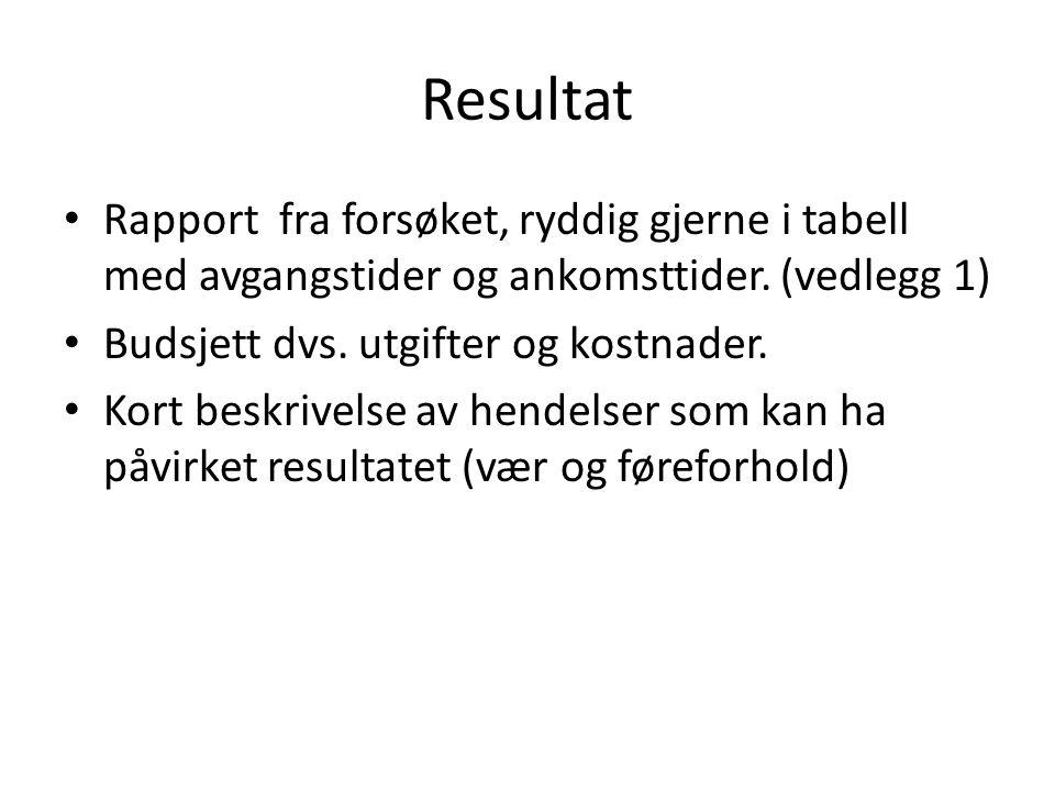 Resultat Rapport fra forsøket, ryddig gjerne i tabell med avgangstider og ankomsttider. (vedlegg 1)