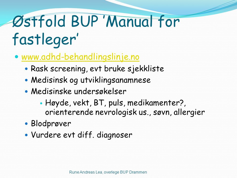 Østfold BUP 'Manual for fastleger'