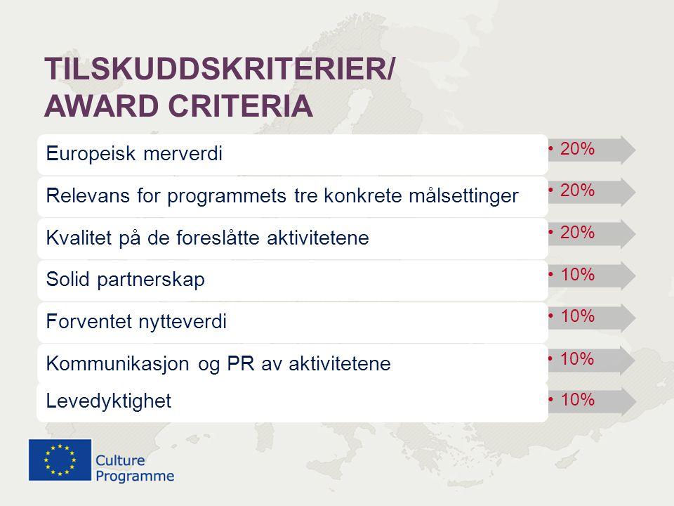 TILSKUDDSKRITERIER/ AWARD CRITERIA