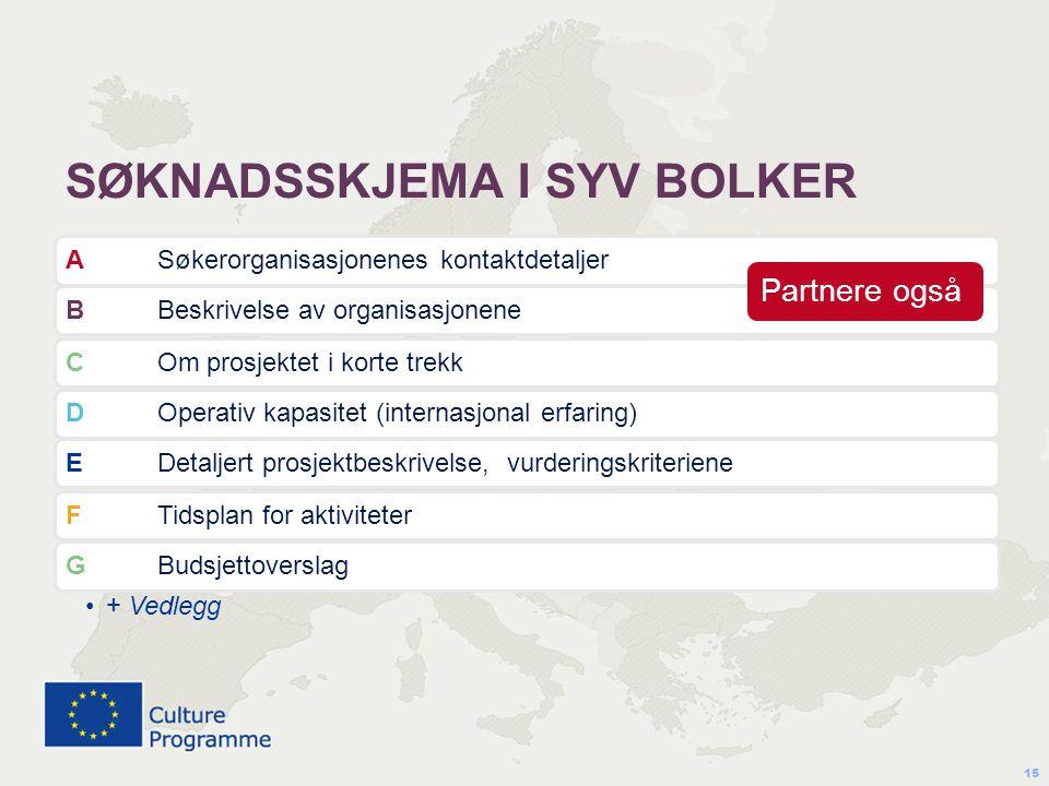 SØKNADSSKJEMA I SYV BOLKER