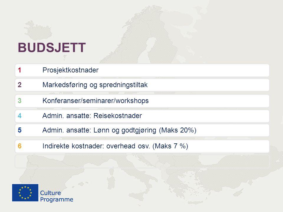 BUDSJETT 1 Prosjektkostnader 2 Markedsføring og spredningstiltak