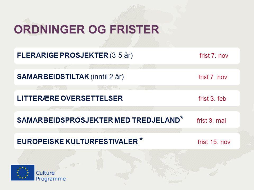 ORDNINGER OG FRISTER FLERÅRIGE PROSJEKTER (3-5 år) frist 7. nov
