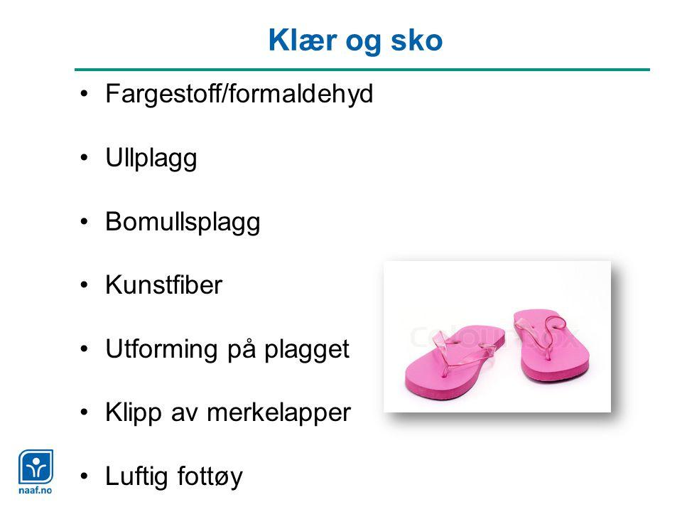 Klær og sko Fargestoff/formaldehyd Ullplagg Bomullsplagg Kunstfiber