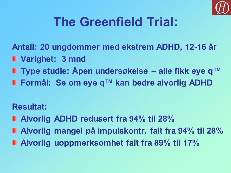 The Greenfield Trial: Antall: 20 ungdommer med ekstrem ADHD, 12-16 år