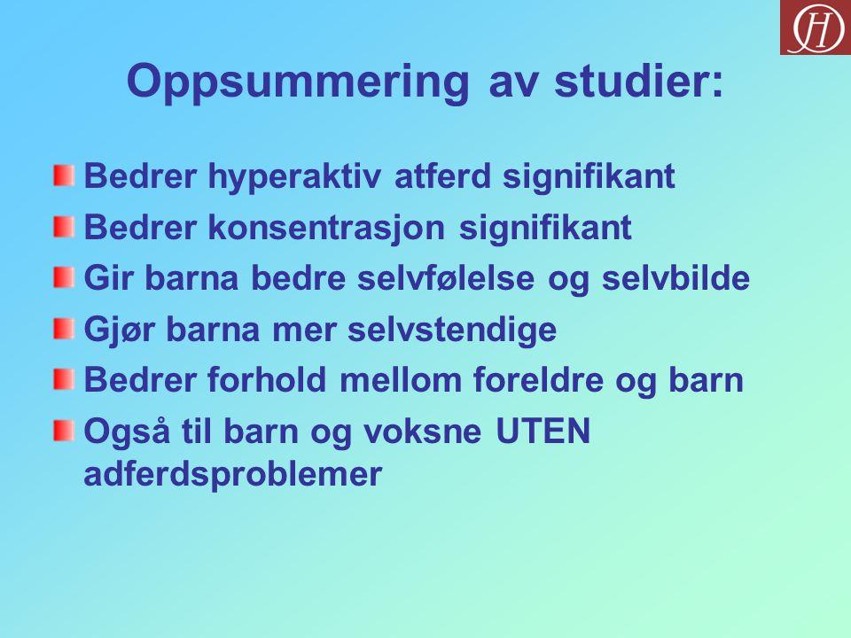 Oppsummering av studier:
