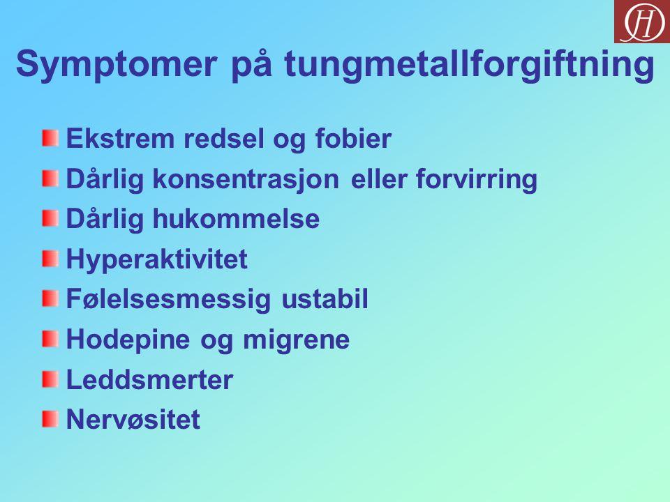 Symptomer på tungmetallforgiftning