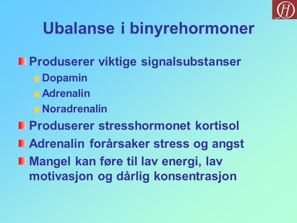 Ubalanse i binyrehormoner