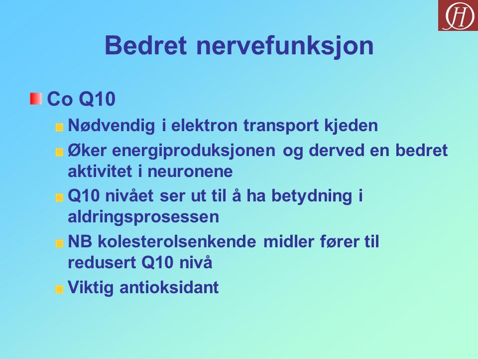 Bedret nervefunksjon Co Q10 Nødvendig i elektron transport kjeden