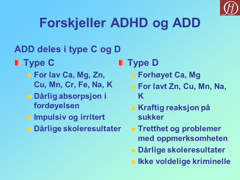 Forskjeller ADHD og ADD