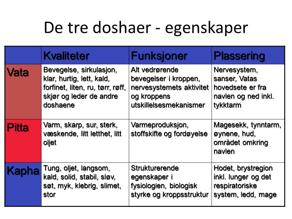 De tre doshaer - egenskaper