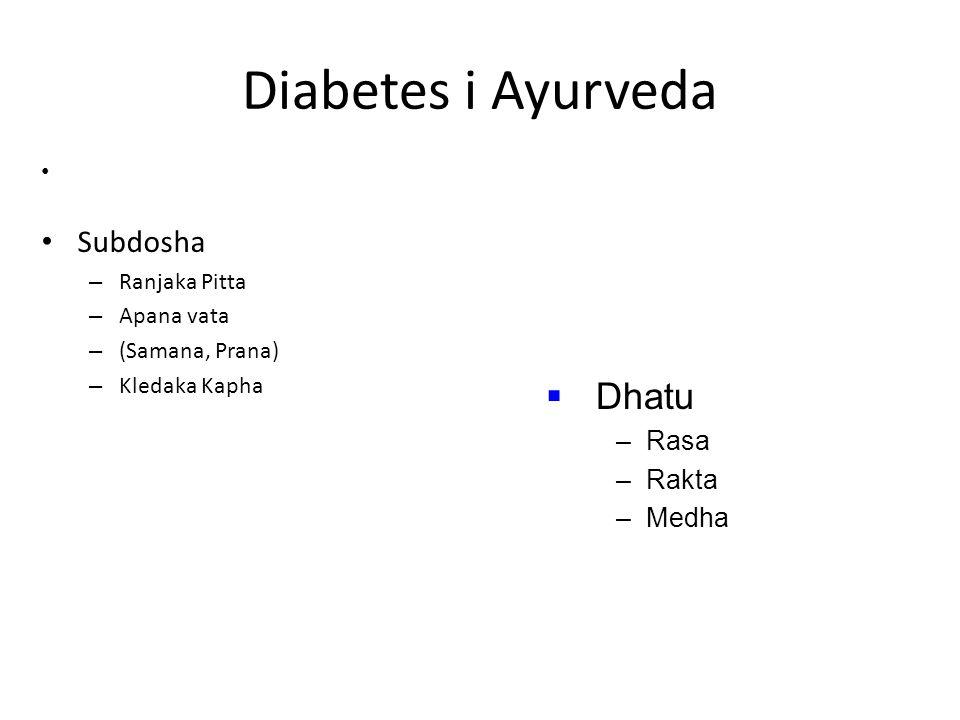 Diabetes i Ayurveda Dhatu Subdosha Rasa Rakta Medha Ranjaka Pitta
