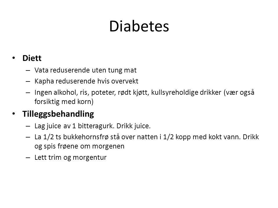Diabetes Diett Tilleggsbehandling Vata reduserende uten tung mat