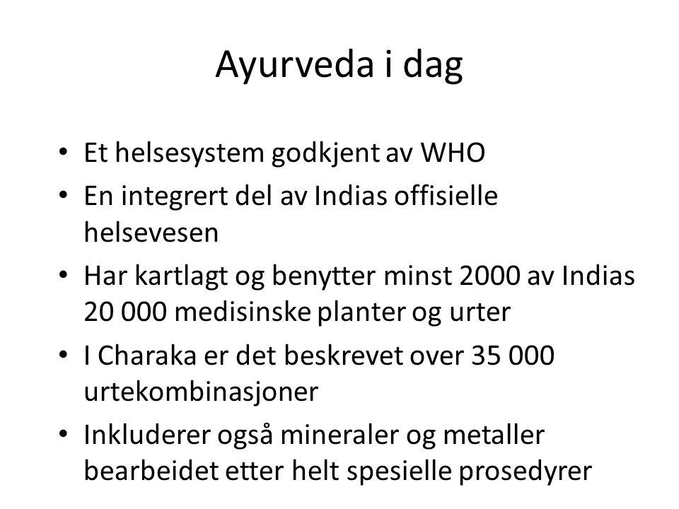 Ayurveda i dag Et helsesystem godkjent av WHO