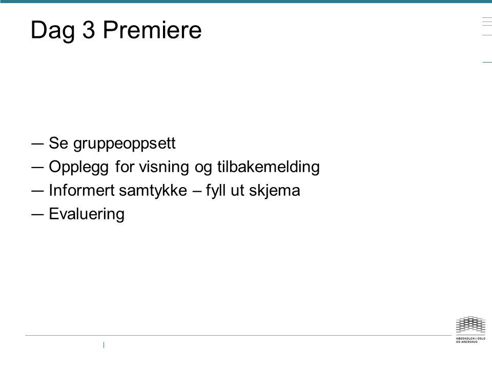 Dag 3 Premiere Se gruppeoppsett Opplegg for visning og tilbakemelding
