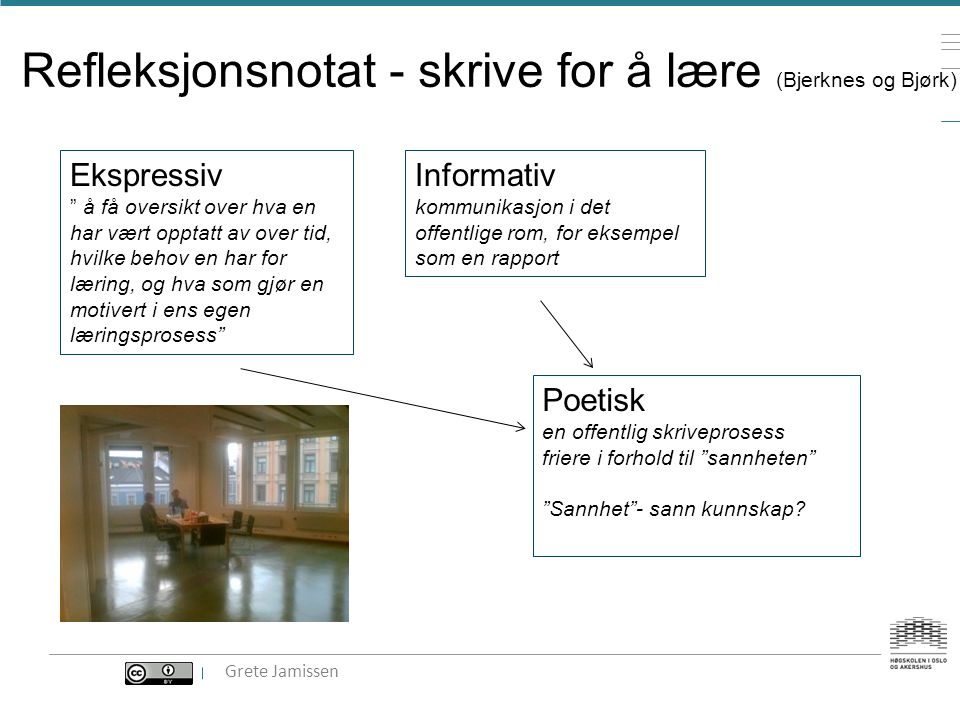 Refleksjonsnotat - skrive for å lære (Bjerknes og Bjørk)