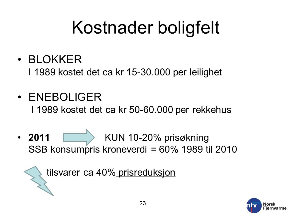 Kostnader boligfelt BLOKKER I 1989 kostet det ca kr 15-30.000 per leilighet. ENEBOLIGER I 1989 kostet det ca kr 50-60.000 per rekkehus.