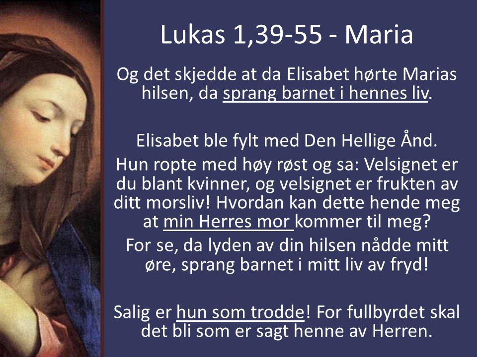 Elisabet ble fylt med Den Hellige Ånd.