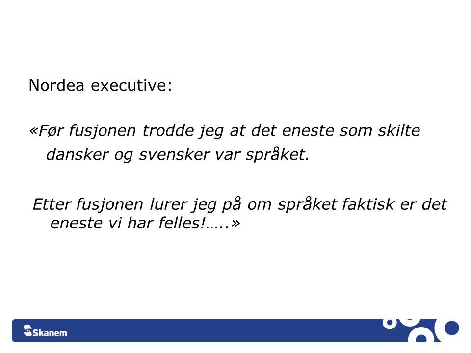 Nordea executive: «Før fusjonen trodde jeg at det eneste som skilte dansker og svensker var språket.