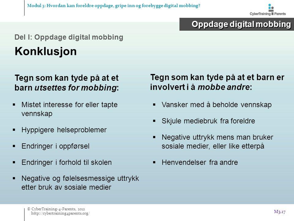 Konklusjon Oppdage digital mobbing