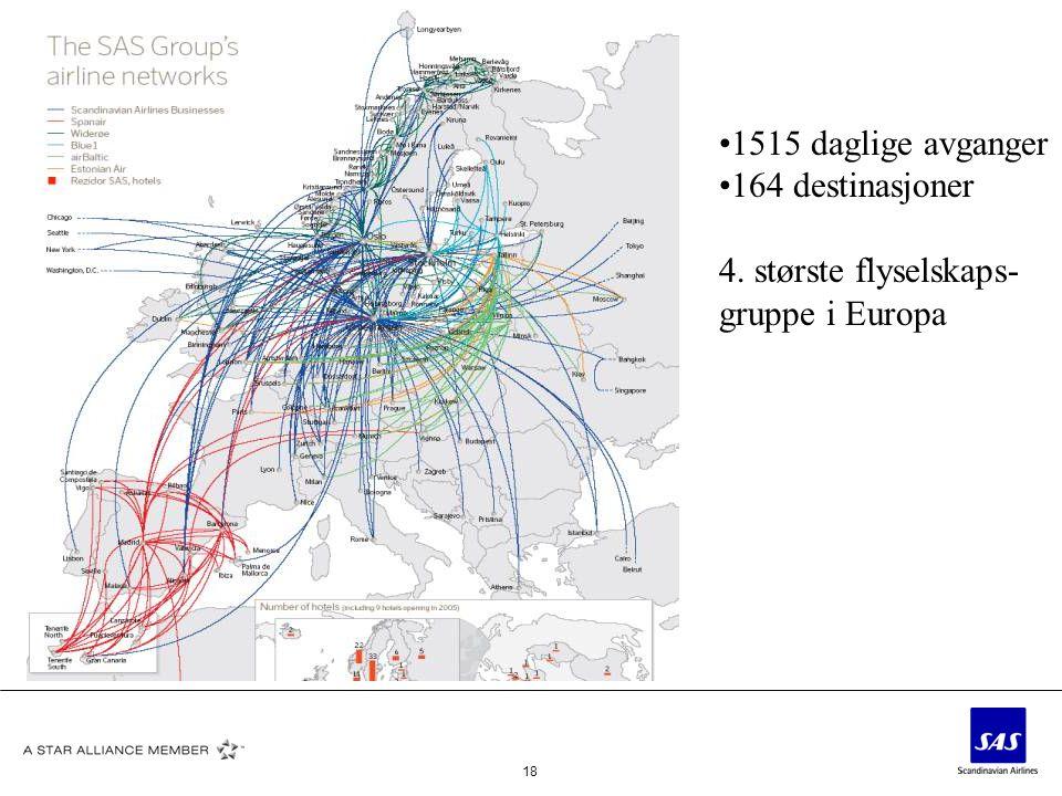 1515 daglige avganger 164 destinasjoner 4. største flyselskaps- gruppe i Europa