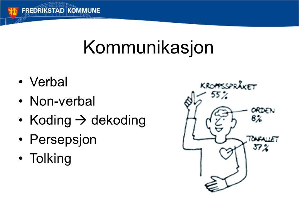 Kommunikasjon Verbal Non-verbal Koding  dekoding Persepsjon Tolking