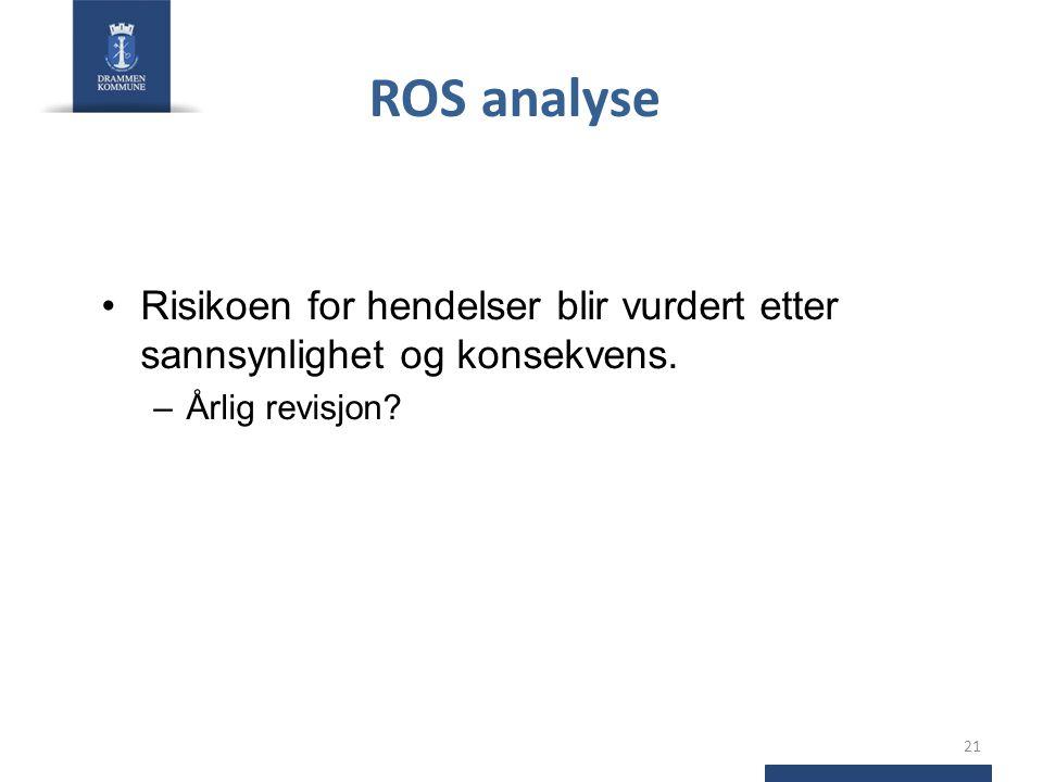 ROS analyse Risikoen for hendelser blir vurdert etter sannsynlighet og konsekvens. Årlig revisjon