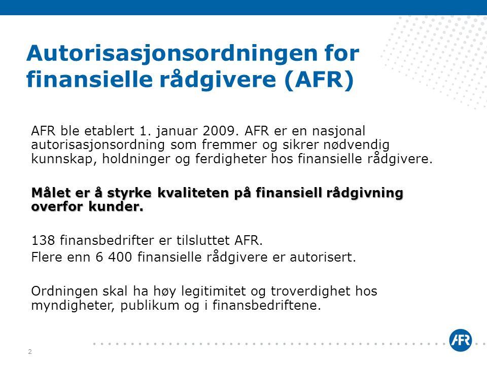 Autorisasjonsordningen for finansielle rådgivere (AFR)