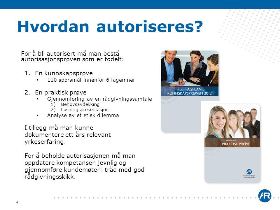 Hvordan autoriseres For å bli autorisert må man bestå autorisasjonsprøven som er todelt: En kunnskapsprøve.