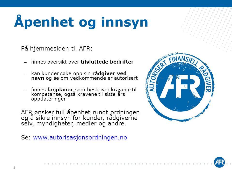 Åpenhet og innsyn På hjemmesiden til AFR: