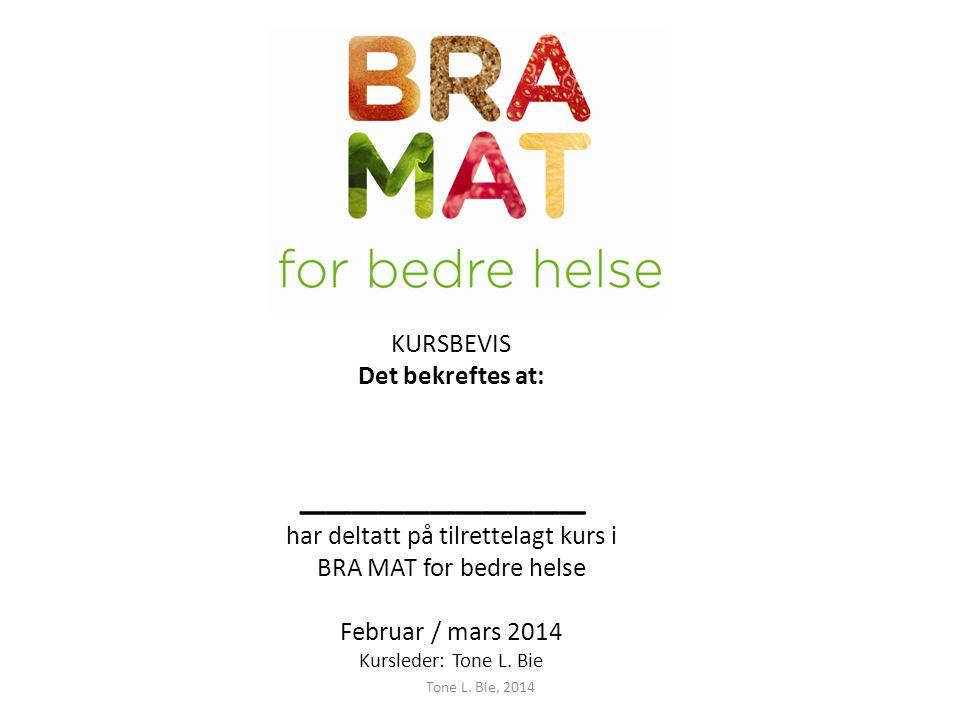 KURSBEVIS Det bekreftes at: ___________ har deltatt på tilrettelagt kurs i BRA MAT for bedre helse Februar / mars 2014 Kursleder: Tone L. Bie
