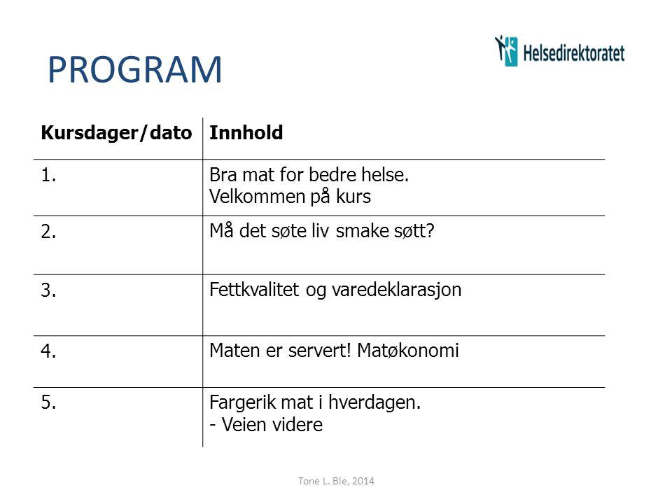 PROGRAM Kursdager/dato Innhold 1. Bra mat for bedre helse.