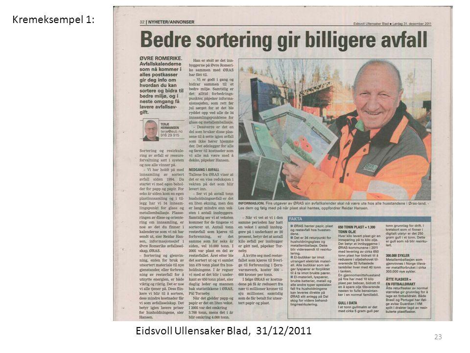 Kremeksempel 1: Eidsvoll Ullensaker Blad, 31/12/2011