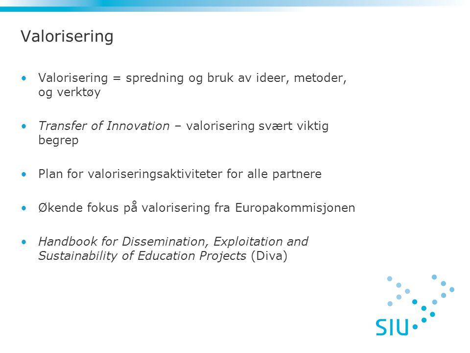 Valorisering Valorisering = spredning og bruk av ideer, metoder, og verktøy. Transfer of Innovation – valorisering svært viktig begrep.