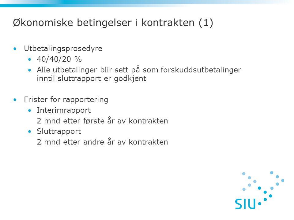 Økonomiske betingelser i kontrakten (1)