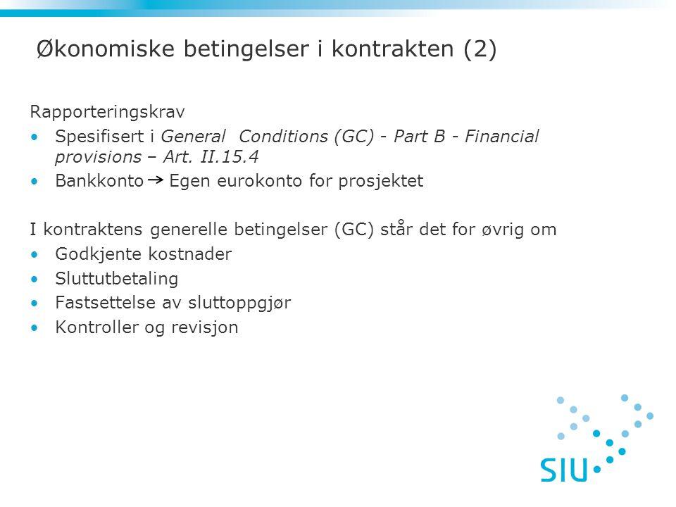 Økonomiske betingelser i kontrakten (2)