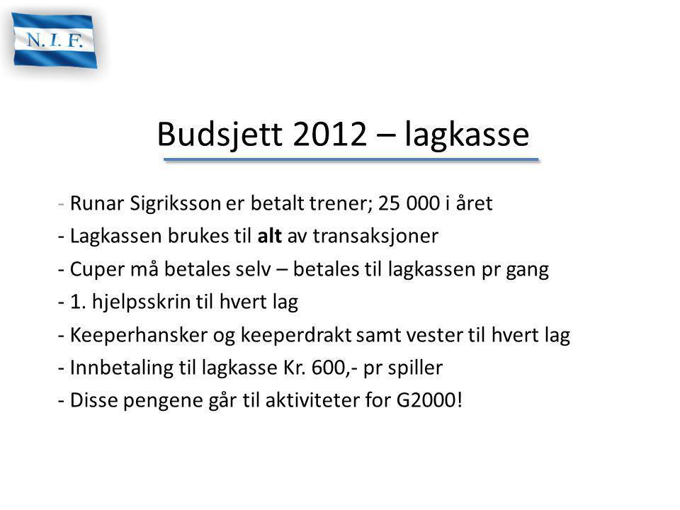 Budsjett 2012 – lagkasse Runar Sigriksson er betalt trener; 25 000 i året. Lagkassen brukes til alt av transaksjoner.