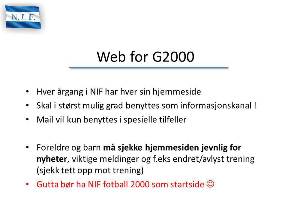 Web for G2000 Hver årgang i NIF har hver sin hjemmeside