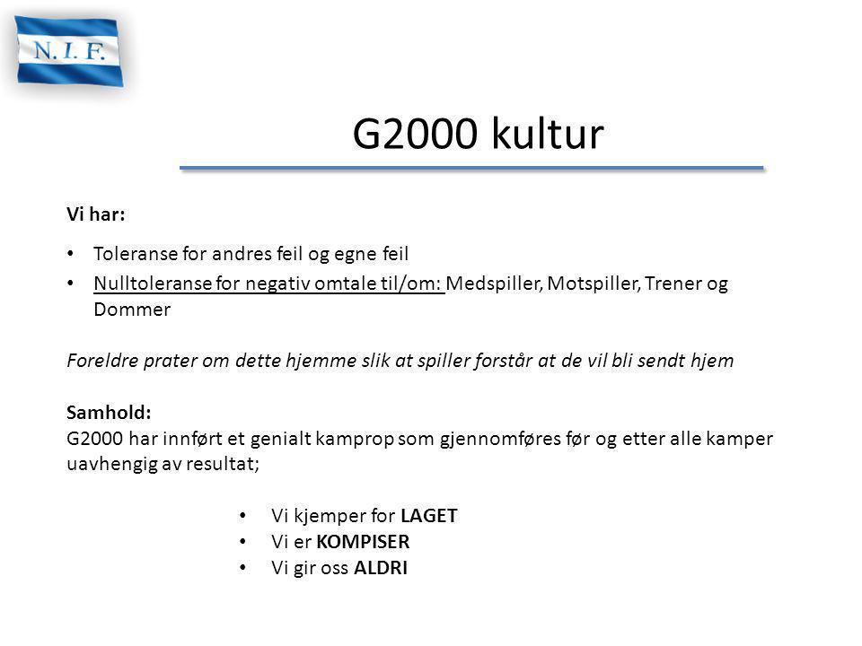 G2000 kultur Vi har: Toleranse for andres feil og egne feil
