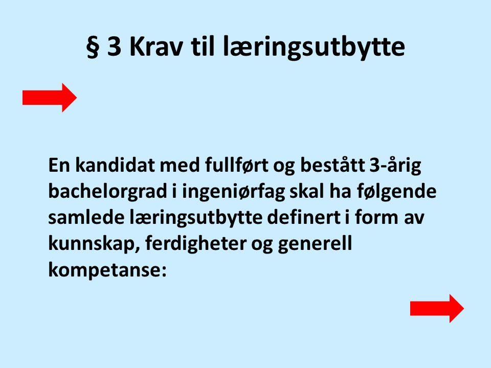 § 3 Krav til læringsutbytte
