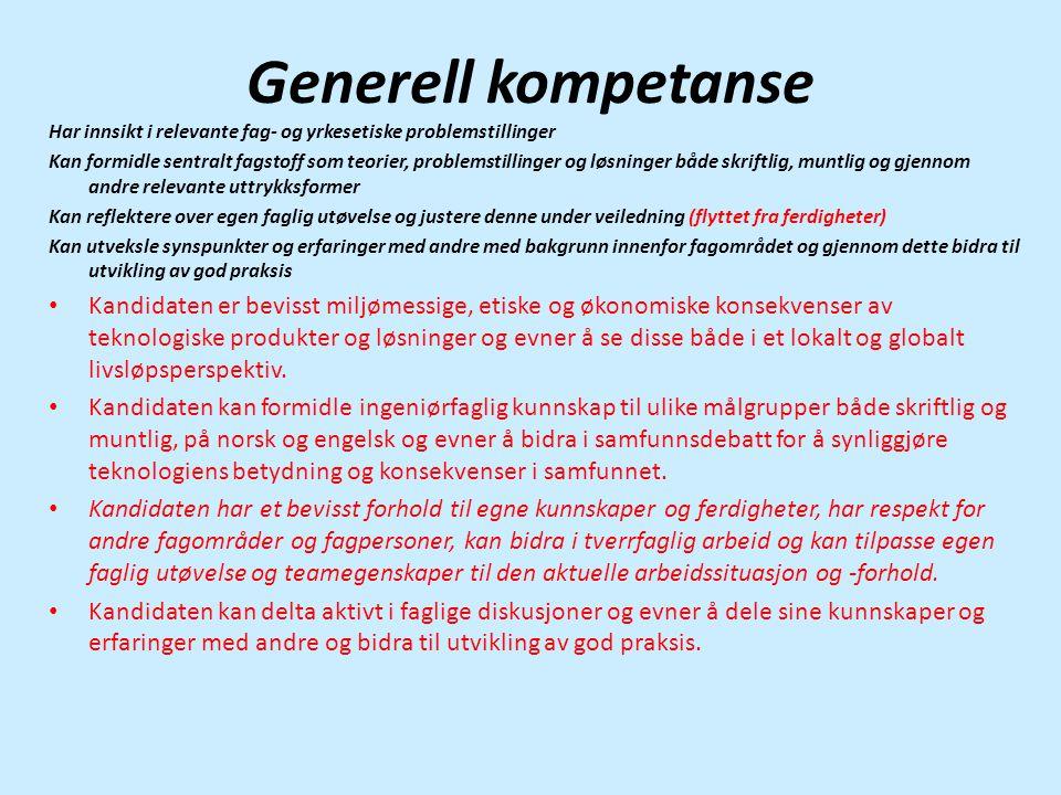 Generell kompetanse Har innsikt i relevante fag- og yrkesetiske problemstillinger.