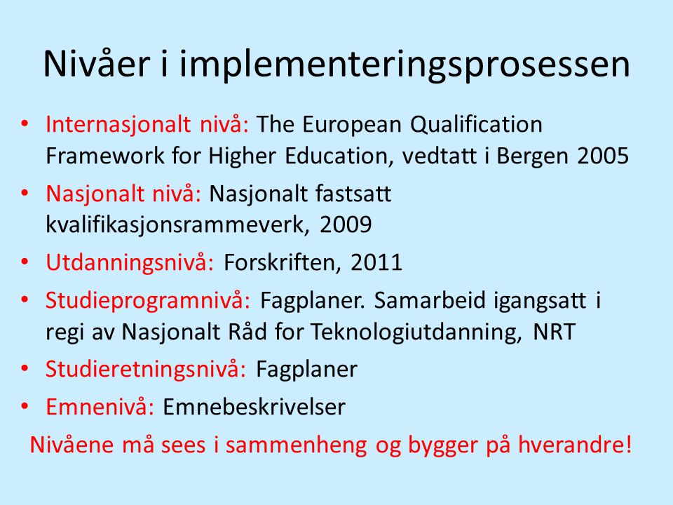 Nivåer i implementeringsprosessen