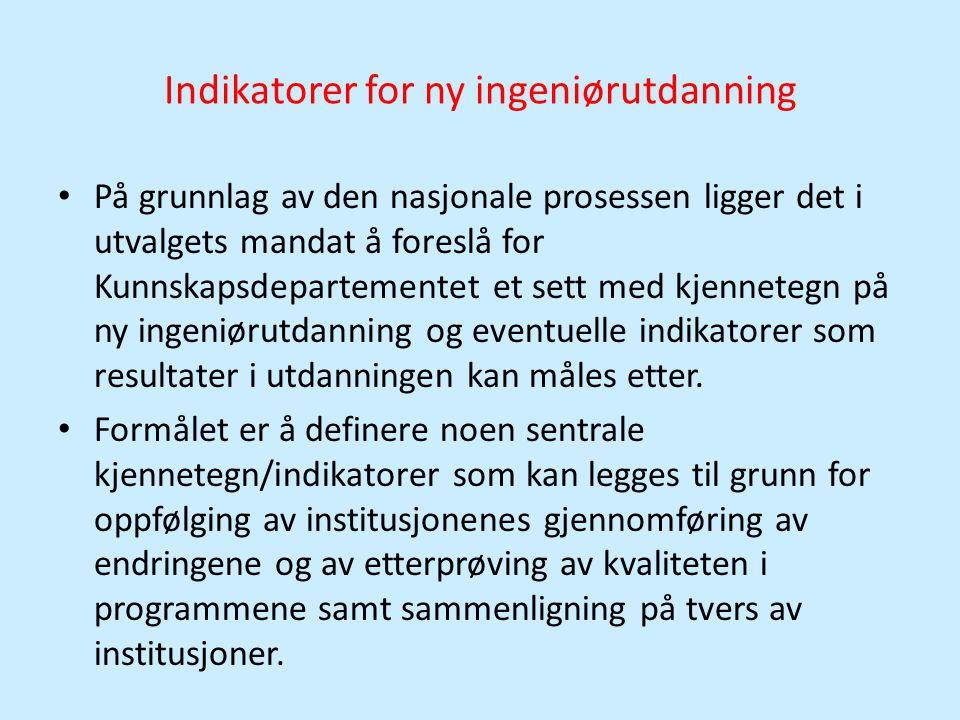 Indikatorer for ny ingeniørutdanning