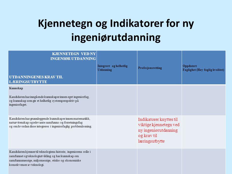 Kjennetegn og Indikatorer for ny ingeniørutdanning